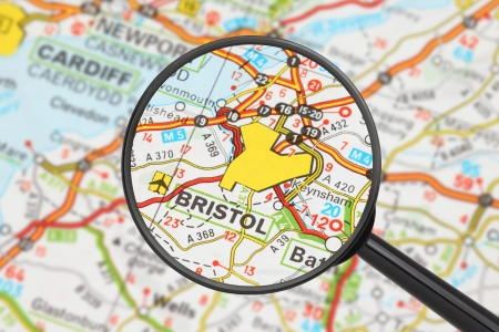 Tourist conceptual image  Destination - Bristol  with magnifying glass Stock Photo - 17474192