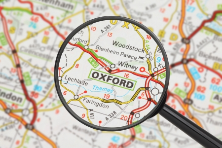 Tourist conceptual image  Destination - Oxford  with magnifying glass