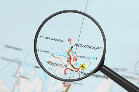 Tourist conceptual image  Destination - Nordkapp  with magnifying glass Stock Photo - 17474197