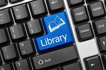 Close up view on conceptual keyboard - Library (blue key) Stock Photo