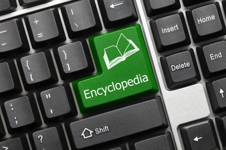 help button: Close up view on conceptual keyboard - Encyclopedia (green key) Stock Photo
