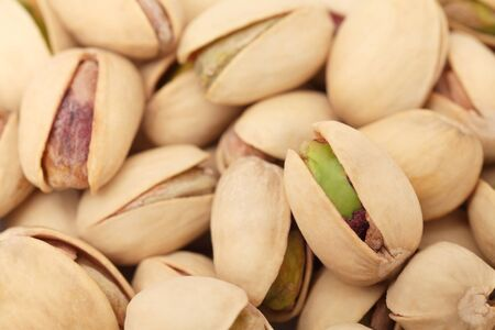 nutshells: Close up view on pistachios (into nutshells) Stock Photo