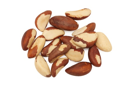 Pile of brazil nuts isolated on white background