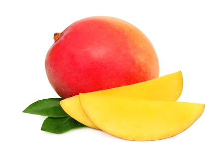 mango fruit: One whole mango and slices with green leaves isolated on white background