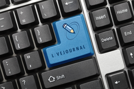 livejournal: Close up view on conceptual keyboard - Encyclopedia (green key) Stock Photo