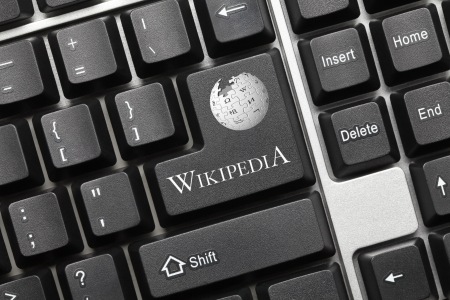 Close up view on conceptual keyboard - Wikipedia (key with logotype)