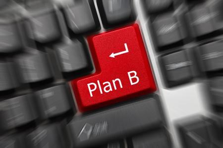 tecla enter: Cierre plano en el teclado conceptual - Plan B (tecla roja). Efecto de zoom Foto de archivo