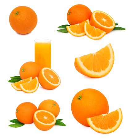 Set of ripe orange fruits with green leaves isolated on white Stock Photo