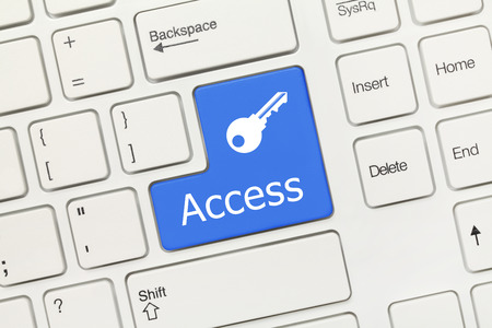 Close up view on white conceptual keyboard - Access (blue button with key symbol) photo