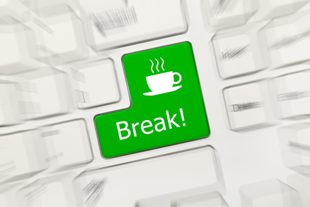 Close-up view on white conceptual keyboard - Break (green key). Zoom effect photo