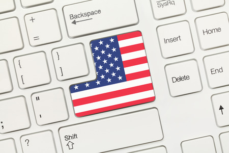 usa flag: Close-up view on white conceptual keyboard - USA (key with flag) Stock Photo