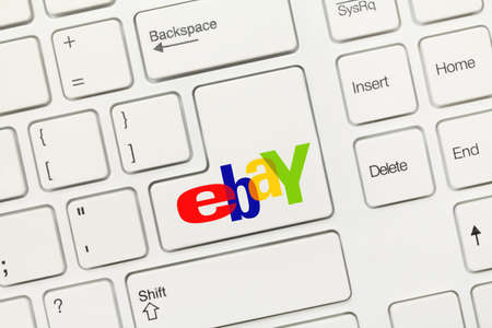 Close-up view on white conceptual keyboard - ebay (key with logotype) Stock Photo