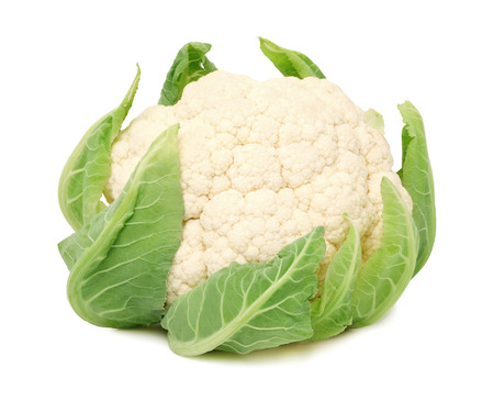 head of cauliflower: Head of ripe cauliflower with green leaves isolated on white background