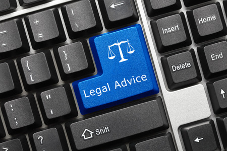 information technology law: Close-up view on conceptual keyboard - Legal Advice (blue key) Stock Photo
