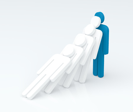 staunch: Strenght of a leader character. Leadership concept. 3D rendering