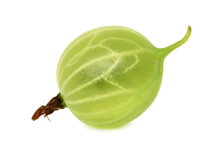 scatters: One ripe green gooseberry isolated on white background Stock Photo