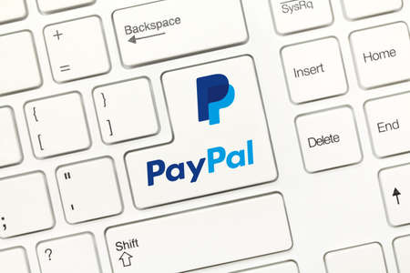 Close-up view on white conceptual keyboard - PayPal (key with logotype) Stock Photo
