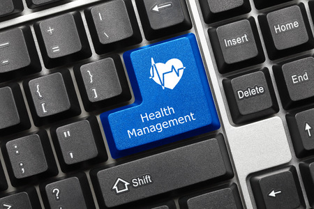 health management: Close-up view on conceptual keyboard - Health Management (blue key)