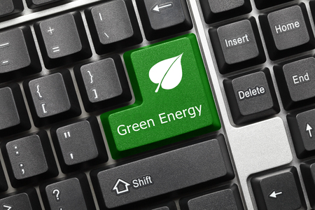 Close-up view on conceptual keyboard - Green Energy (key with leaf symbol)
