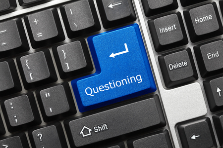 analisys: Close-up view on conceptual keyboard - Questioning (blue key) Stock Photo