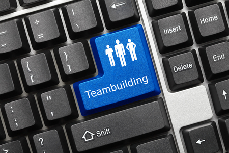 teambuilding: Close-up view on conceptual keyboard - Teambuilding (blue key)