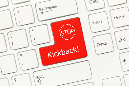 control fraud: Close-up view on white conceptual keyboard - Kickback (red key) Stock Photo