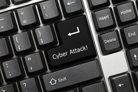 attacker: Close-up view on conceptual keyboard - Cyber Attack (black key) Stock Photo