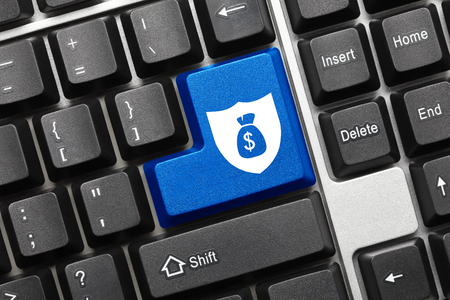 moneybag: Close-up view on conceptual keyboard - Blue key with shield and moneybag symbols