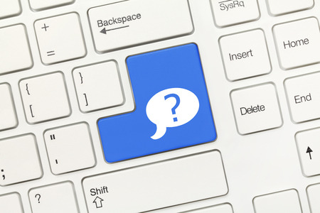 dialog box: Close-up view on white conceptual keyboard - Blue key with question mark in dialog box symbol