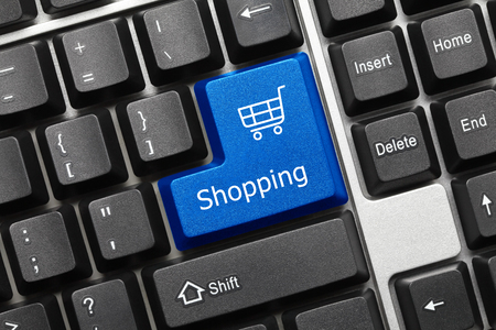 Close-up view on conceptual keyboard - Shopping (blue key with shop cart symbol)