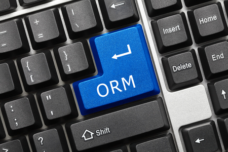 Close-up view on conceptual keyboard - ORM (blue key)