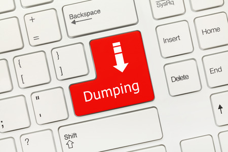 Close-up view on white conceptual keyboard - Dumping (red key)