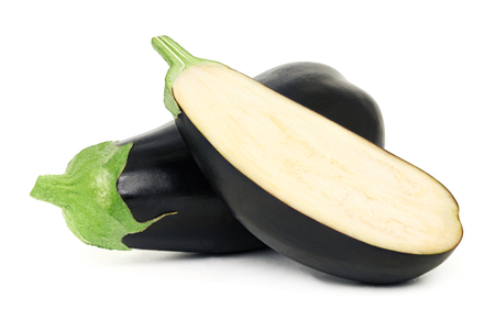 One whole and a half ripe eggplant isolated on white background