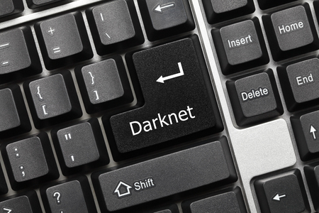 Close-up view on conceptual keyboard - Darknet (black key) 免版税图像