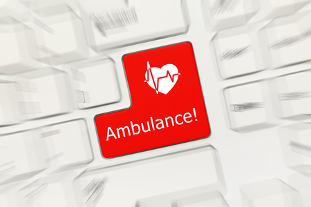 Close-up view on white conceptual keyboard - Ambulance (red key with cardiology symbol). Zoom effect Banque d'images