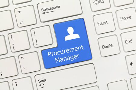 Close-up view on white conceptual keyboard - Procurement Manager (blue key)