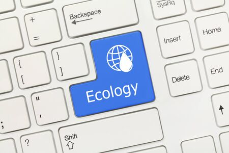 Close-up view on white conceptual keyboard - Ecology (blue key) Standard-Bild
