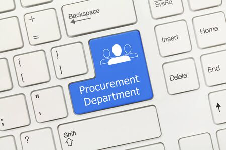 Close-up view on white conceptual keyboard - Procurement Department (blue key)