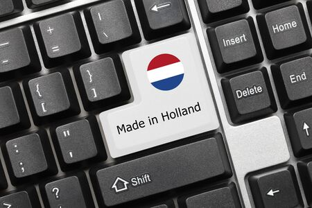Close-up view on conceptual keyboard - Made in Holland (key with flag)