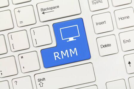 Close-up view on white conceptual keyboard - RMM (blue key) Reklamní fotografie