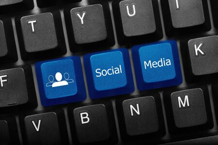 Three keys black conceptual keyboard - Social Media blue keys Stock Photo