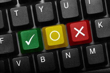 Three keys black conceptual keyboard - Positive, Neutral and Negative mark multicolor keys