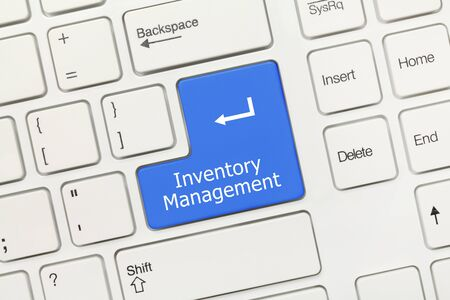 Close-up view on white conceptual keyboard - Inventory Management (blue key)