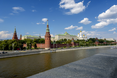 View of the Moscow Kremlin from the bridge in summer sunny day