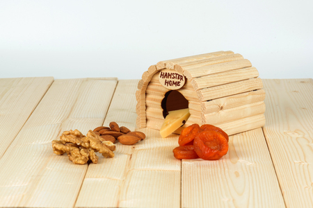 A wooden house and a treat for a hamster. Nuts, dried apricots and cheese.