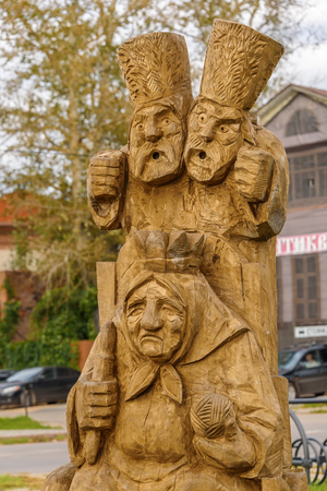 Wooden sculpture of the characters of Russian folk tales. Russia, Suzdal, September 2017. Stock Photo