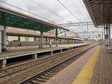 Railway station and rails for trains. Russia, Moscow, October 2017.