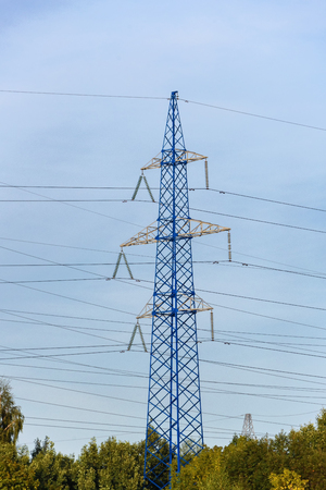 Support high voltage power line. The transfer of energy, the provision of electricity. Reklamní fotografie