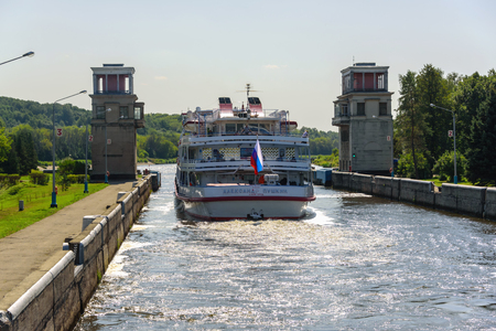 Russia, Moscow region, August 2108. Passenger cruise ship to the River Gateway on the Moscow Canal. Water facilities for navigation ships.