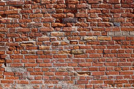 Textura de una vieja pared de ladrillos. Albañilería de ladrillo rojo antiguo. El fondo de ladrillo.